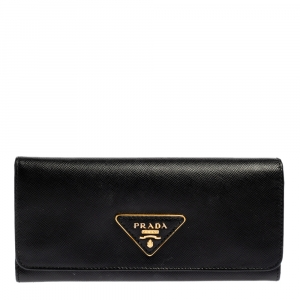 Prada Black Saffiano Lux Leather Continental Flap Wallet