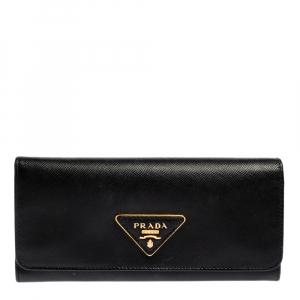 Prada Black Saffiano Lux Leather Continental Flap Wallet
