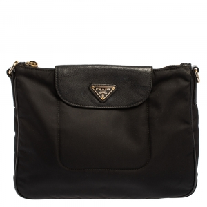Prada Black Nylon and Leather Flap Crossbody Bag