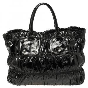 حقيبة يد برادا مجمعة جلد لامع أسود