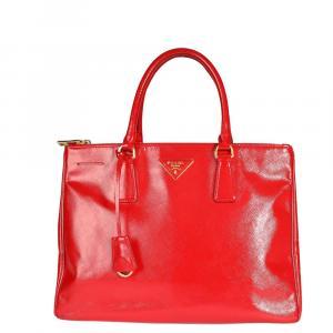 Prada Rosso Vernice Saffiano Leather Medium Double Zip Tote Bag