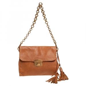 Prada Brown Leather Tassel Chain Shoulder Bag