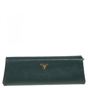 حقيبة برادا إيست ويست جلد سافيانو أخضر بإطار
