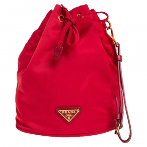 Prada Red Nylon and Leather Bucket Pouch
