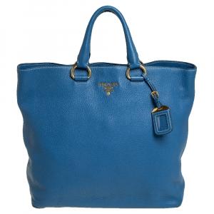 حقيبة يد برادا جلد داينو فيتيلو أزرق