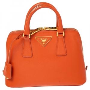 Prada Orange Saffiano Vernic Leather Small Promenade Satchel