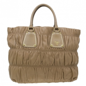 Prada Beige Leather Large Nappa Gaufre Tote