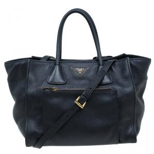 Prada Black Vitello Phenix Leather Shopping Tote