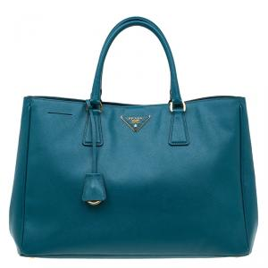 Prada Pine Green Saffiano Lux Leather Large Tote