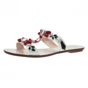 Prada White Patent Saffiano Leather Jeweled Flat Sandals Size 39.5