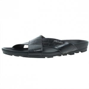 Prada Sport Black Croc Embossed Criss Cross Slides Size 41