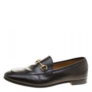 Gucci Black Leather Jordaan Horsebit Loafers Size 39