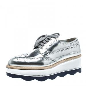 Prada Metallic Silver Brogue Leather Wave Wingtip Platform Derby Sneakers Size 37.5