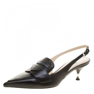 Prada Black Leather Pointed Toe Slingback Loafer Sandals Size 35.5