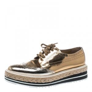 Prada Metallic Gold Brogue Leather Wave Wingtip Espadrille Platform Derby Sneakers Size 38
