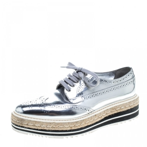 Prada Metallic Silver Brogue Leather Wave Wingtip Espadrille Platform Derby Sneakers Size 39.5