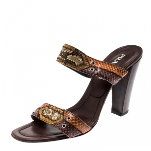 Prada Multicolor Python Leather Strappy Sandals Size 39 - used