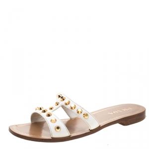 حذاء سلايدز برادا فلات مزخرف مرصع جلد سافيانو أبيض مقاس 39