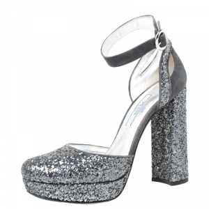Prada Metallic Grey Glitter And Suede Ankle Strap Platform Sandals Size 36 - used