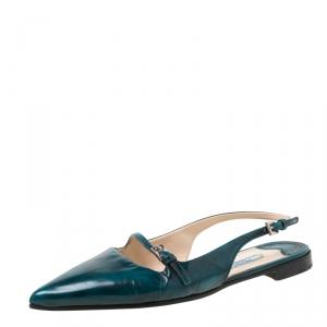 Prada Green Leather Slingback Flat Sandals Size 37 - used