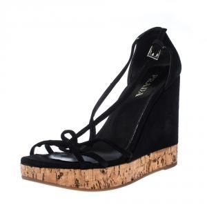Prada Black Suede Strappy Cork Wedge Platform Sandals Size 37 - used