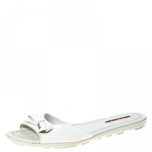 Prada White Patent Leather Bow Flats Size 36 - used