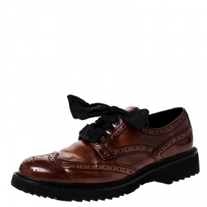 Prada Brown Brogue Leather Spazzolato Oxfords Size 37 - used