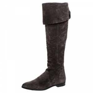 Prada Brown Suede Over The Knee Pointed Toe Flat Boots Size 37 - used