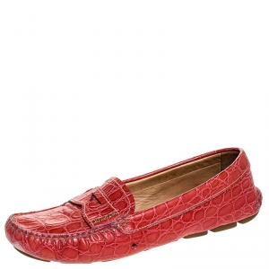 Prada Red Croc Embossed Leather Penny Loafers Size 38 - used