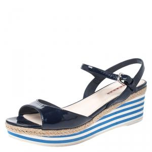 Prada Navy Blue Patent Leather Platform Stripe Wedge Ankle Strap Sandals Size 40 - used