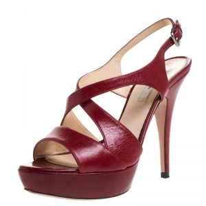 Prada Red Leather Strappy Platform Sandals Size 37 - used