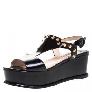 Prada Black Leather T-Strap Wedge Platform Studded Slingback Sandals Size 40 - used