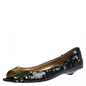 Prada Black Sequin Peep Top Ballet Flats Size 37.5 - used