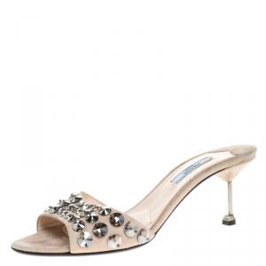 Prada Beige Suede Studded Slide Sandals Size 37.5 - used
