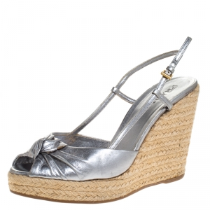 Prada Silver Leather Knot Open Toe Espadrille Wedge Slingback Sandals Size 38 - used