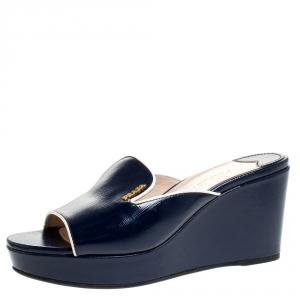 Prada Navy Blue Patent Leather Peep Toe Platform Wedge Slides Size 37.5