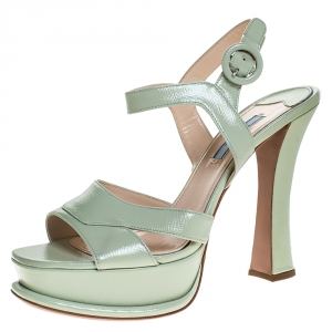 Prada Green Patent Leather Platform Ankle Strap Sandals Size 39