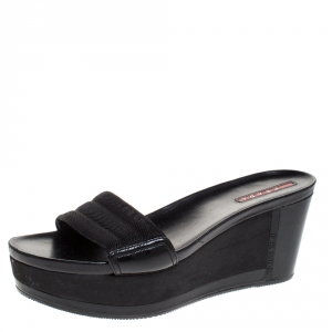 Prada Sport Black Canvas and Leather Wedge Slides Size 38.5