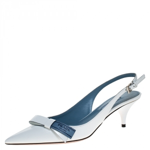Prada White Patent Leather Bow Pointed Pointed Toe Slingback Sandals Size 39