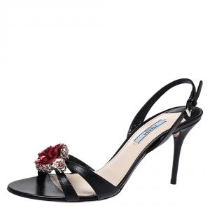 Prada Black Leather Crystal Embellished Flower Ankle Strap Sandals Size 39.5