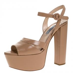 Prada Beige Patent Saffiano Leather Ankle Strap Block Heel Platform Sandals Size 39