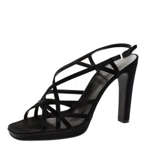 Prada Black Satin Strappy Open Toe Platform Slingback Sandals Size 39.5 - used