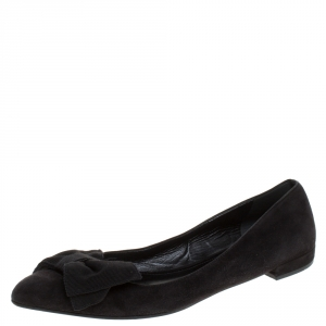 Prada Black Suede Fabric Bow Ballet Flats Size 38.5 - used