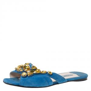 Prada Blue Suede Crystal Embellished Flat Slides Size 39