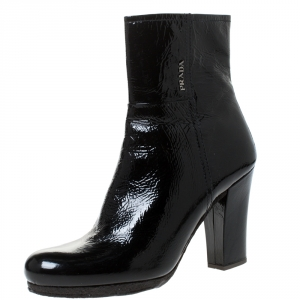 Prada Black Patent Leather Ankle Length Boots Size 40.5 - used
