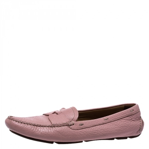 Prada Pink Leather Penny Slip On Loafers Size 39 - used