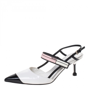 Prada White/Black Leather Pointed Toe Slingback Sandals Size 39