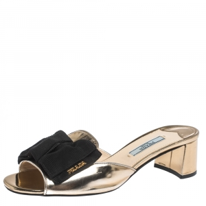 Prada Metallic Gold Leather With Black Grosgrain Bow Open Toe Sandals Size 36