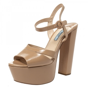 Prada Beige Patent Leather Open Toe Ankle Strap Platform Sandals Size 39 - used