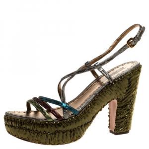 Prada Metallic Green Leather and Straw Strappy Platform  Sandals Size 40